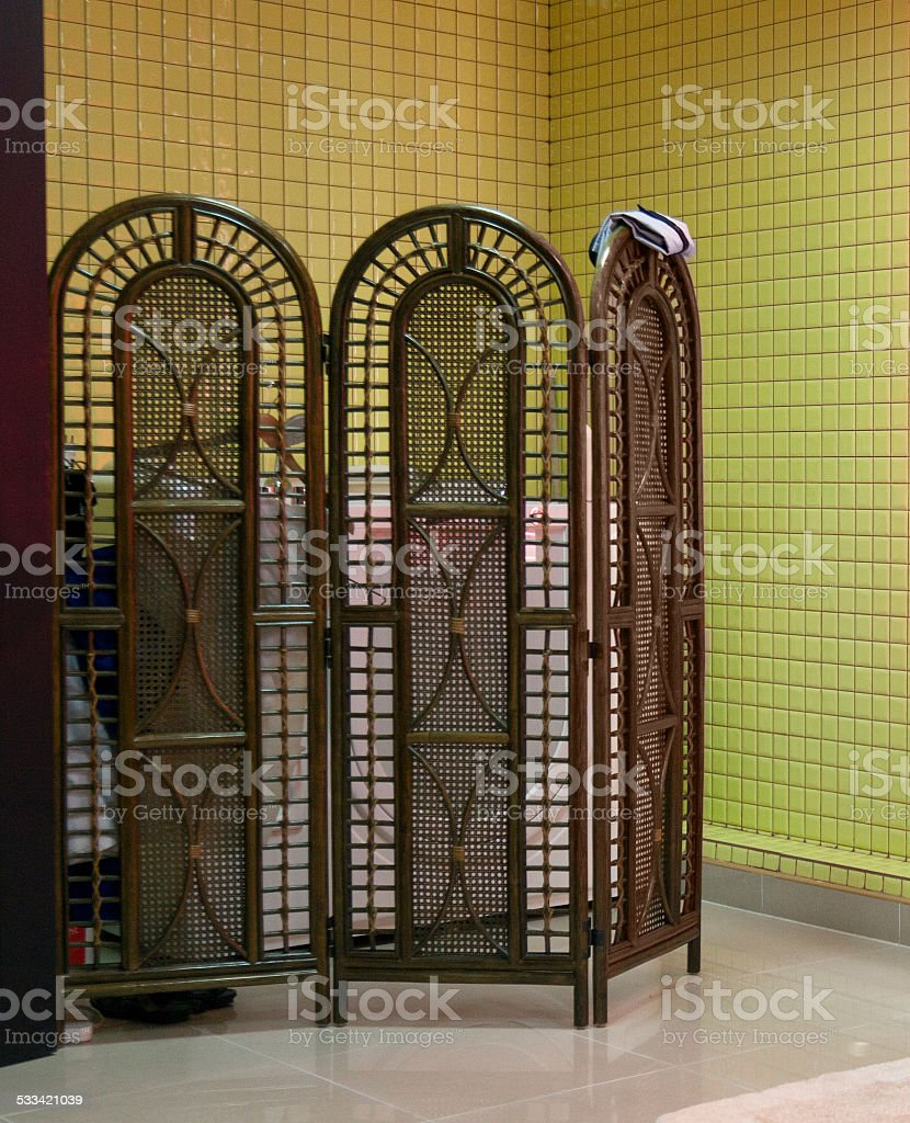Tricuspid wooden screen stock photo