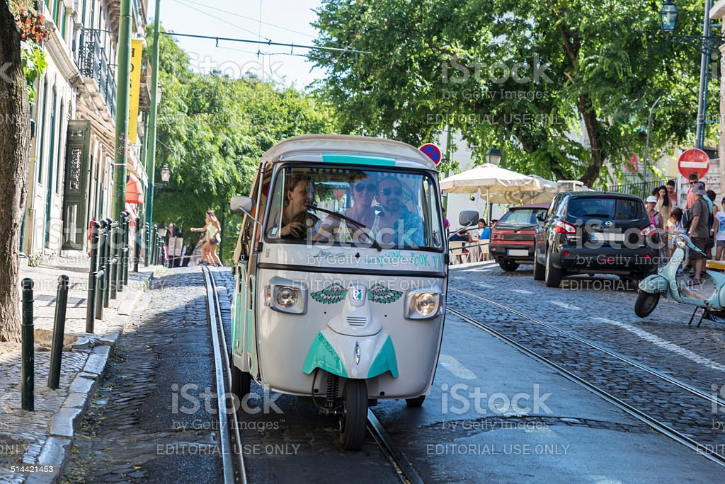 Tricycle for tourist in Lisbon, Portugal stock photo