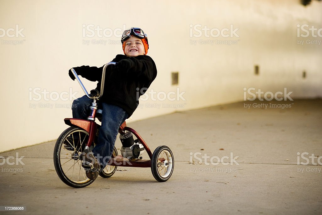 Tricycle Rider stock photo