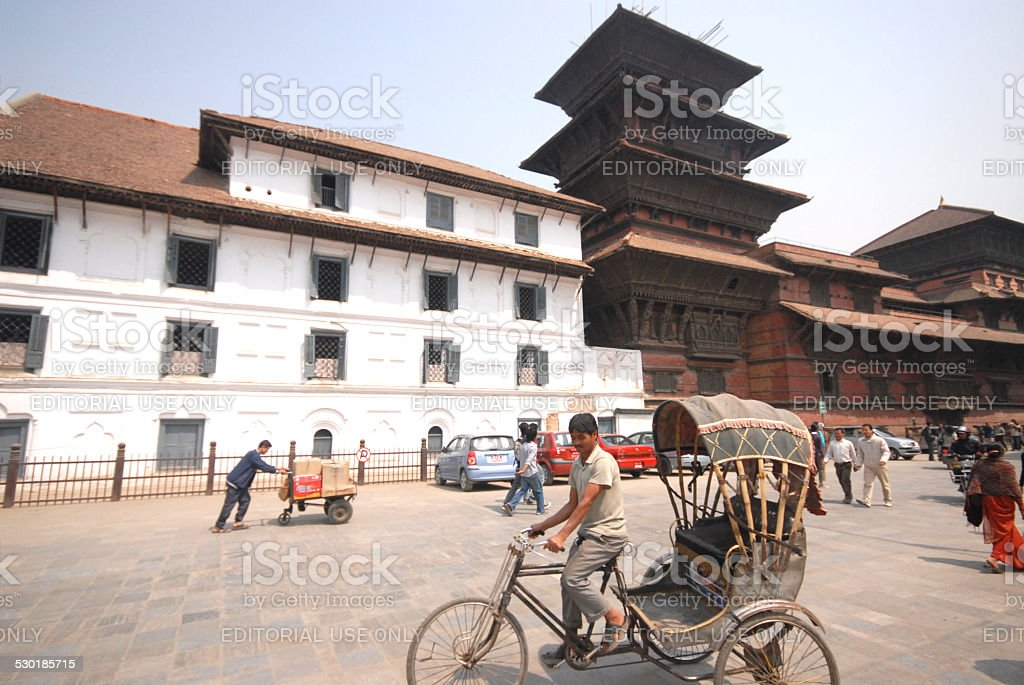 Tricycle taxi waiting for customers in Kathmandu city,Nepal. stock photo