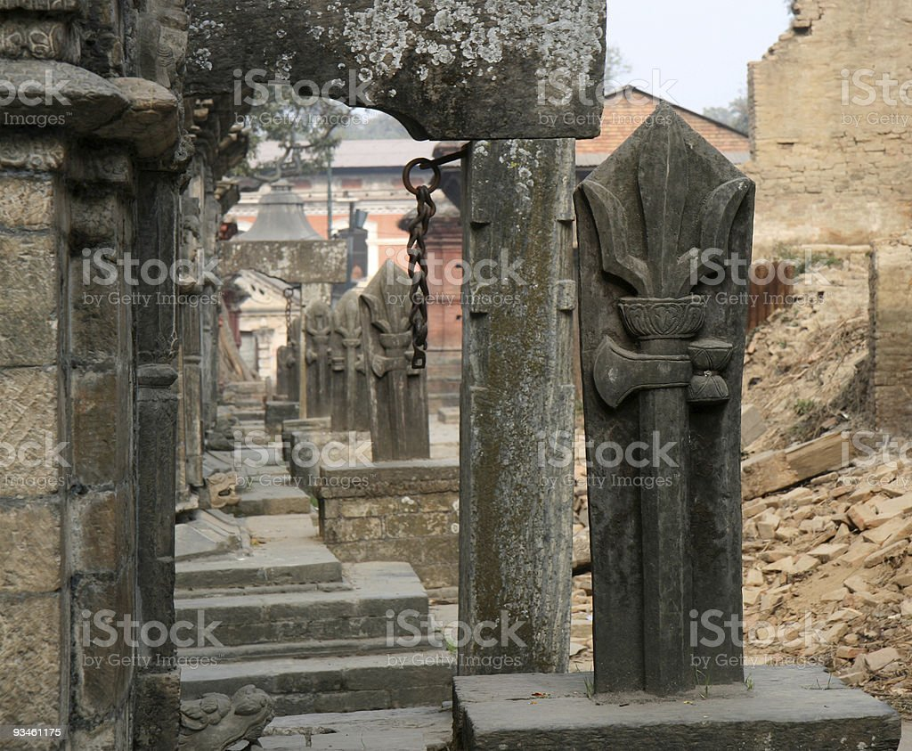 trident and gates in Pashupatinath royalty-free stock photo