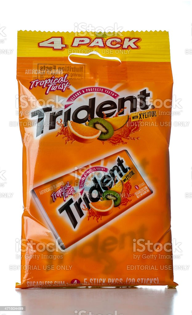 Trident Tropical Twist 4 pack gum stock photo