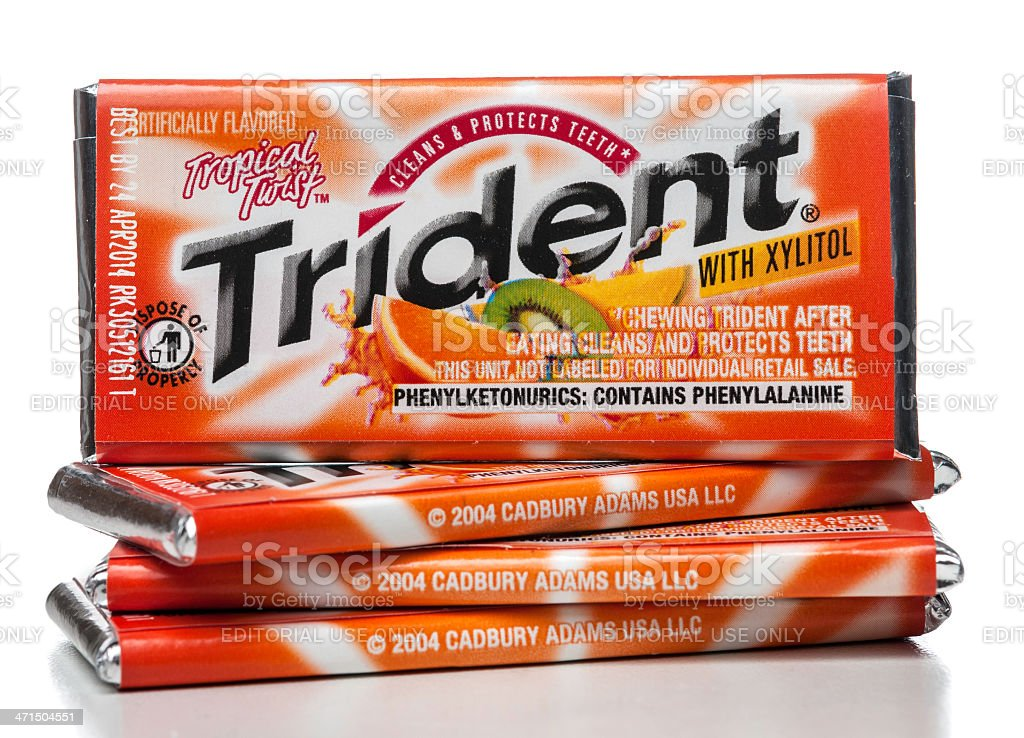 Trident Tropical Twist gum stock photo