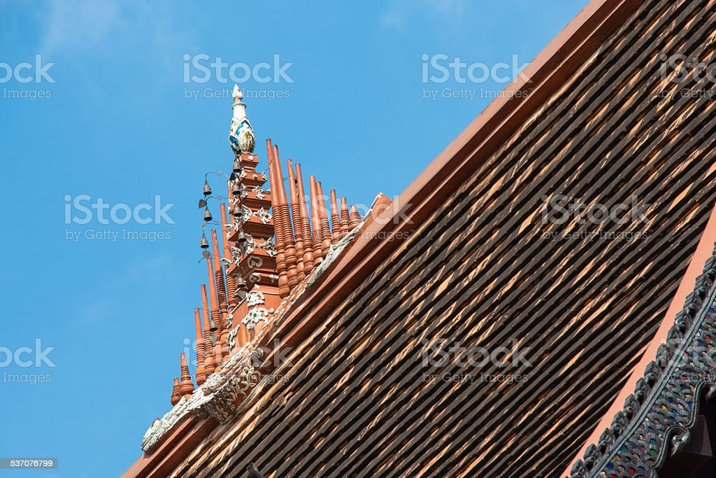 Triditional art deco of temple top Chiangmai Thailand stock photo