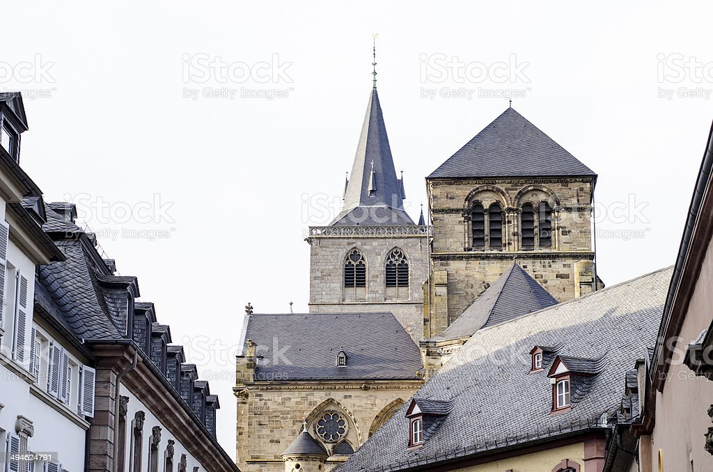 Trier, Germany, old buildings and Cathedral stock photo