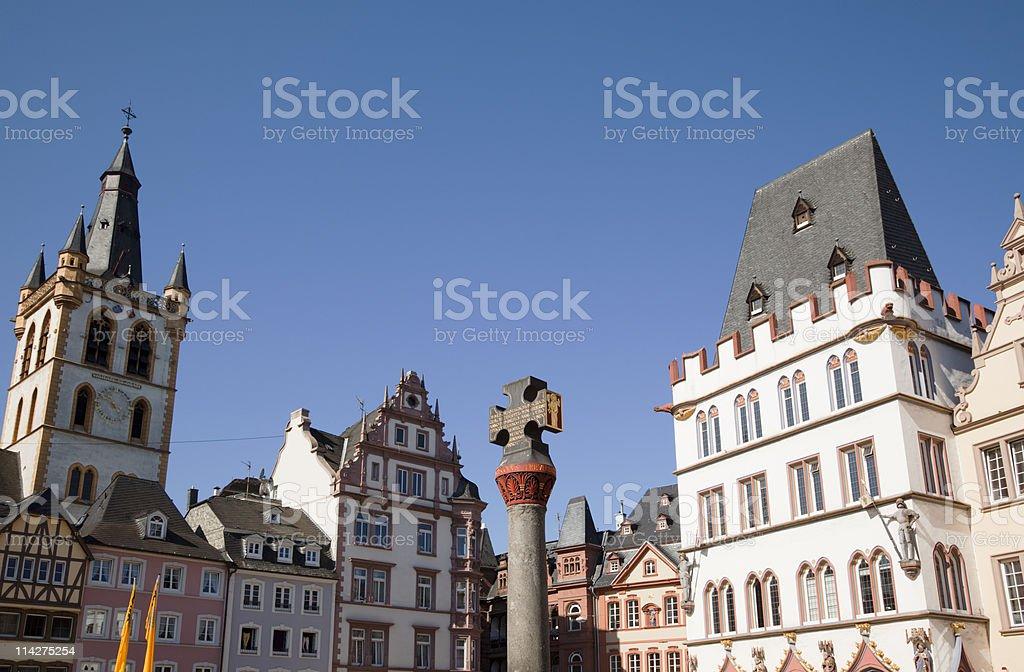 Trier, houses at the Hauptmarkt stock photo