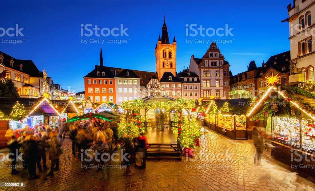 Trier - Main Square and Christmas Market stock photo