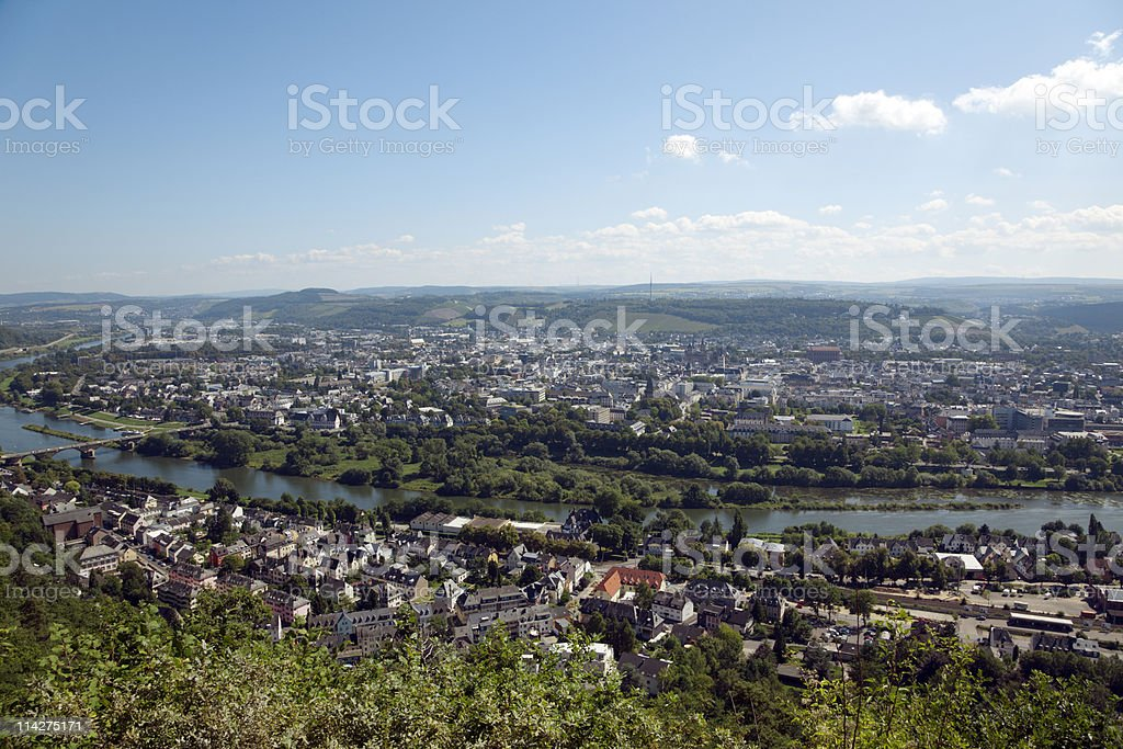 Trier panorama stock photo