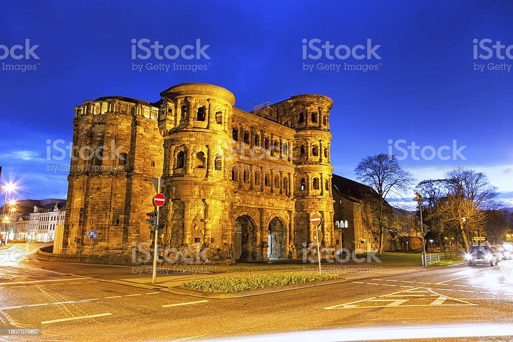 Trier's ancient Roman city gate, Porta Nigra by night stock photo