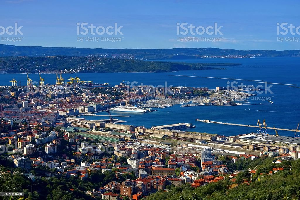 Trieste aerial view stock photo
