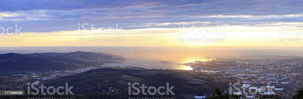 Trieste, panoramic photo of North Adriatic bay stock photo