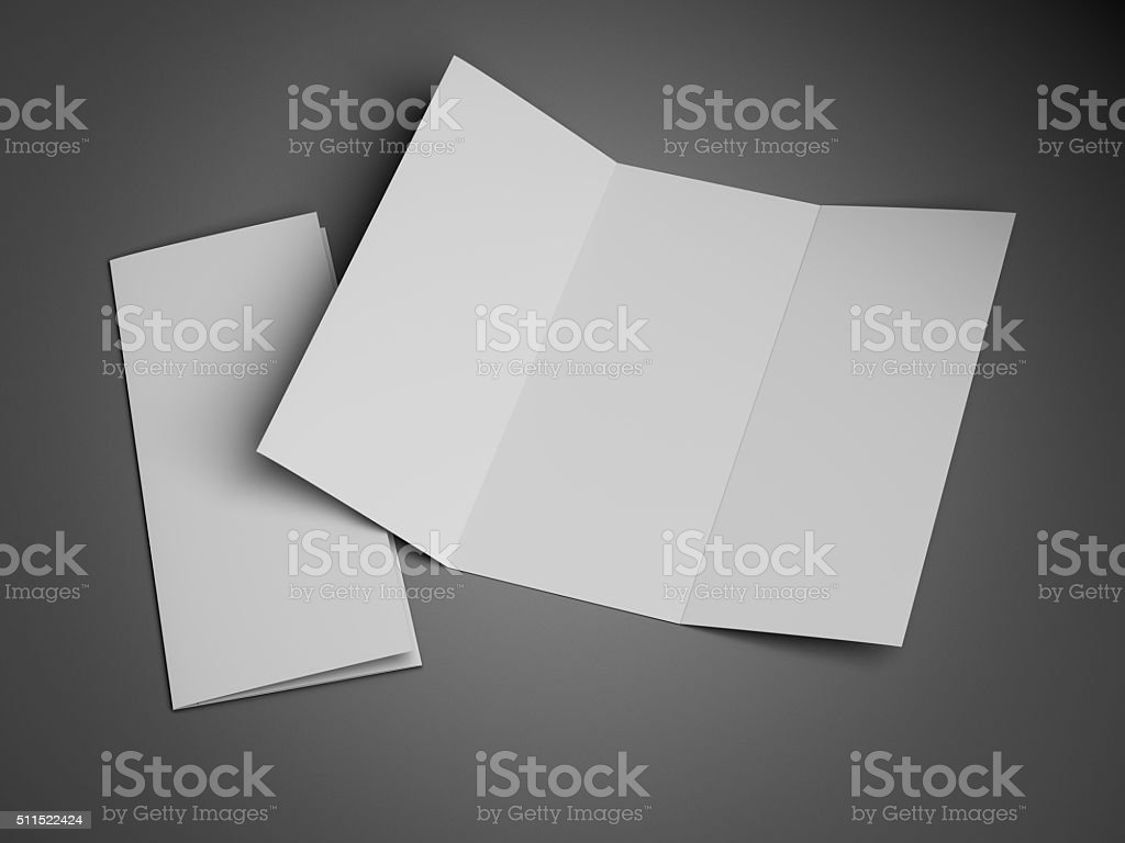 Tri-fold Brochure Leaflet Zigzag Folded stock photo