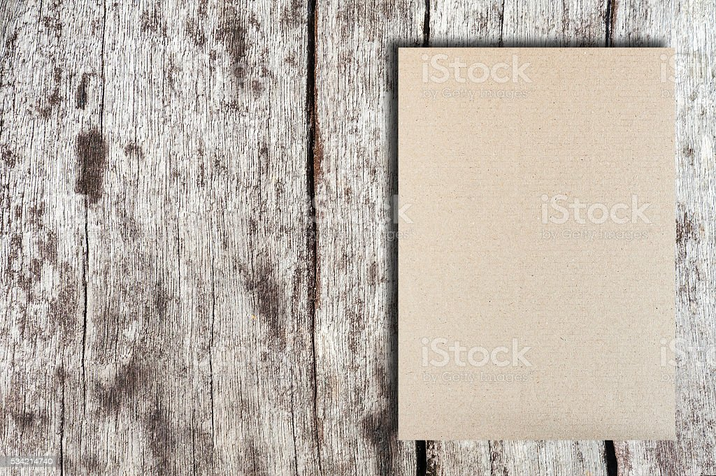 Trifold gray template paper on wood texture stock photo