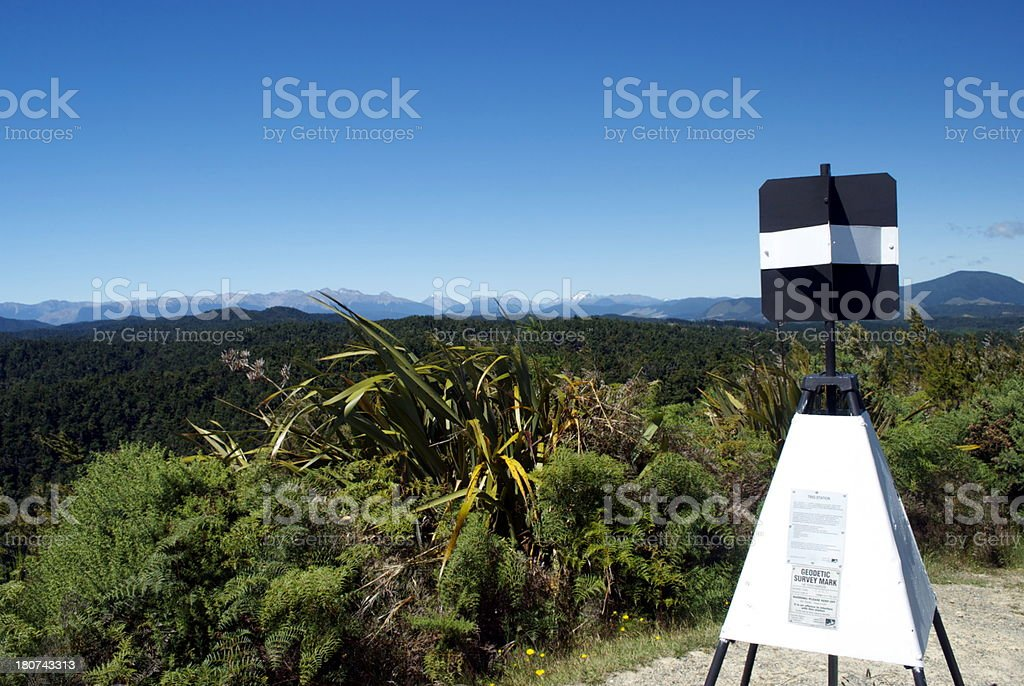 Trig Point, Hope Saddle, Near Glenhope, Tasman, NZ royalty-free stock photo