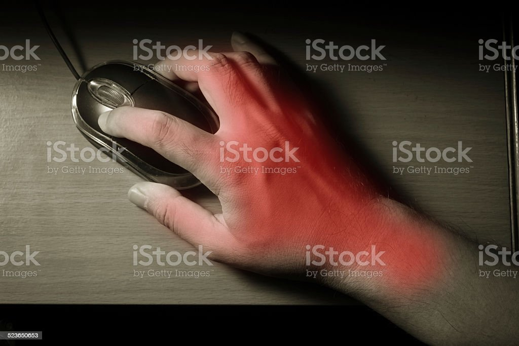 Trigger Finger or Carpal Tunnel syndrome. stock photo