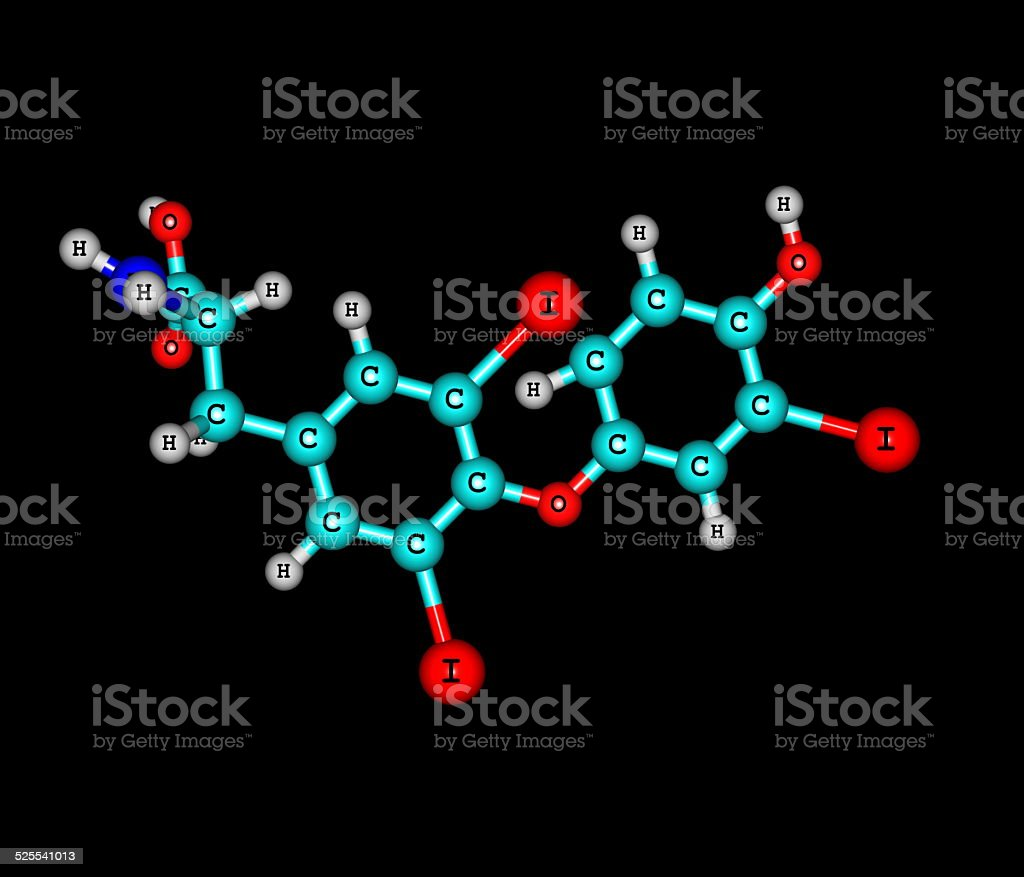 Triiodothyronine molecule isolated on black stock photo