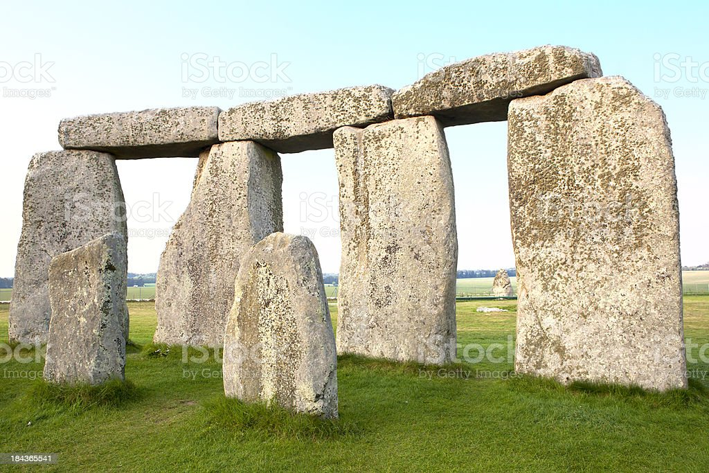Trilithons and Bluestones at Stonehenge Horizontal stock photo