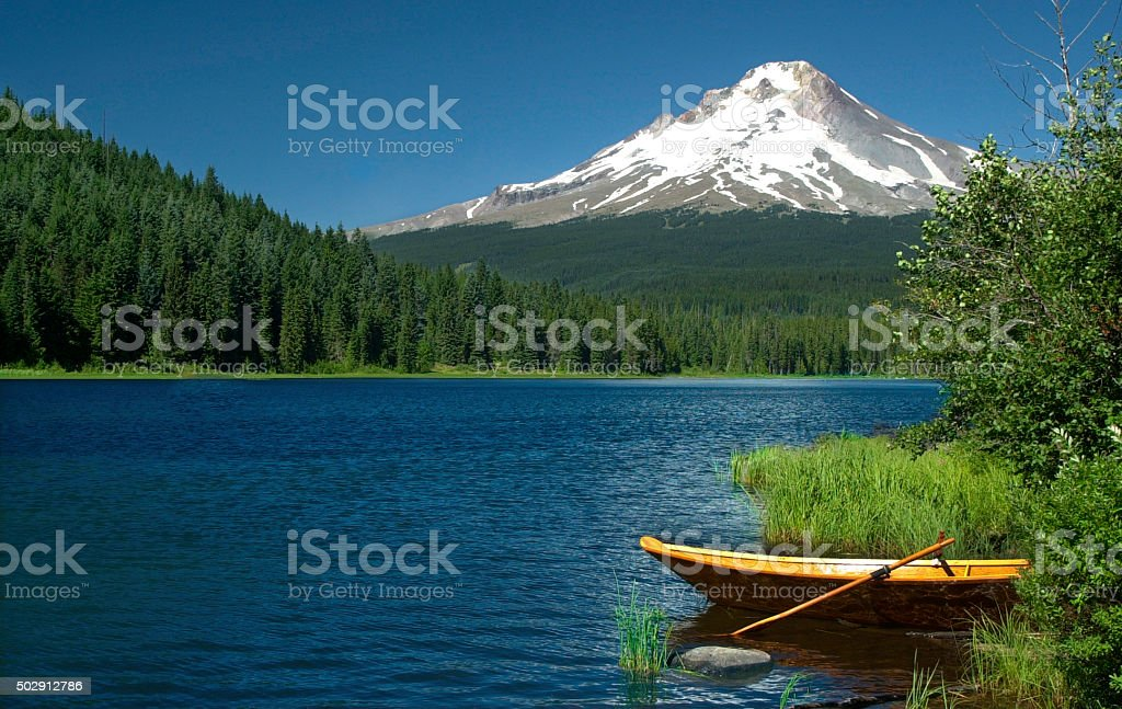 Trillium Lake, Mt Hood national Forest, USA stock photo