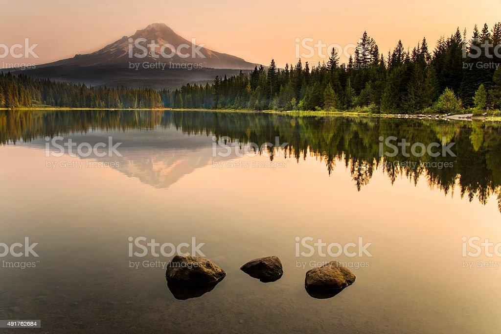 Trillium Lake Sunrise stock photo