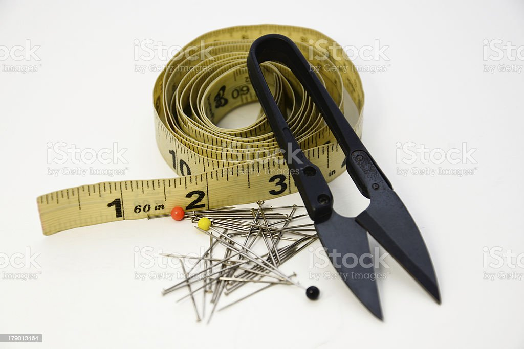 Trim Scissors, Pins and Measuring Tape-2 royalty-free stock photo