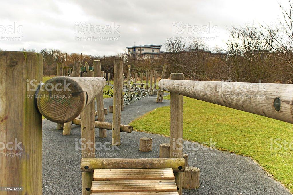 Trim trail wobbly bridge stock photo
