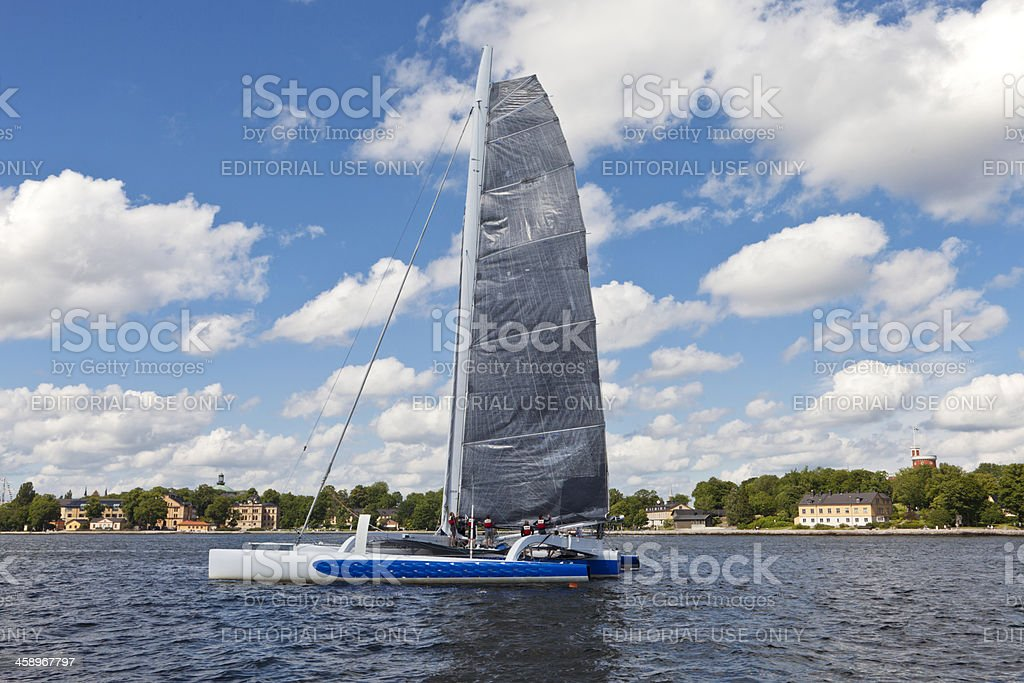 Trimaran ready for off shore race 'Round Gotland' royalty-free stock photo