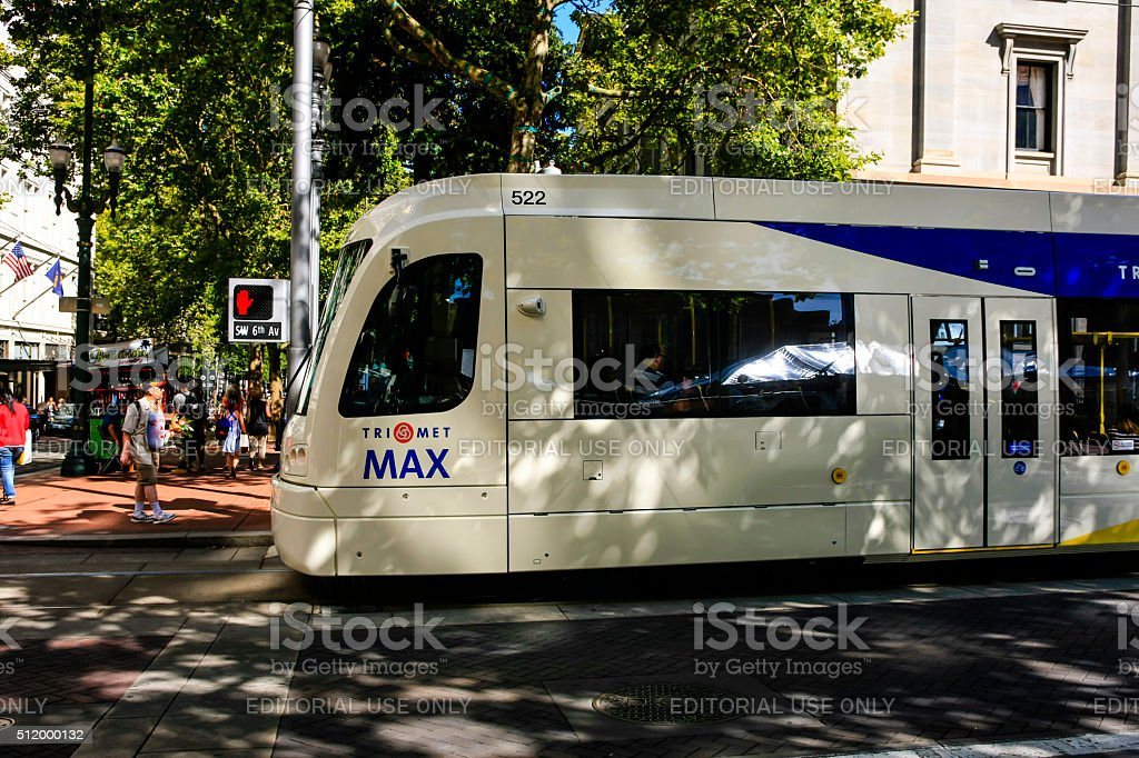 Trimet's Max Light Rail in downtown Portland Oregon stock photo