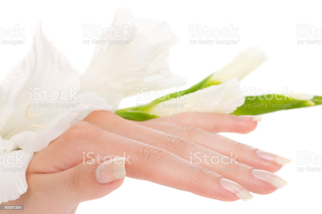 Trimmed nails on female fingers stock photo