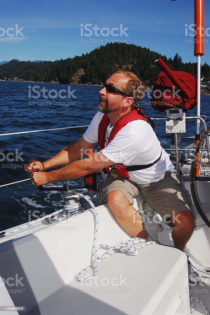 Trimming Sail royalty-free stock photo
