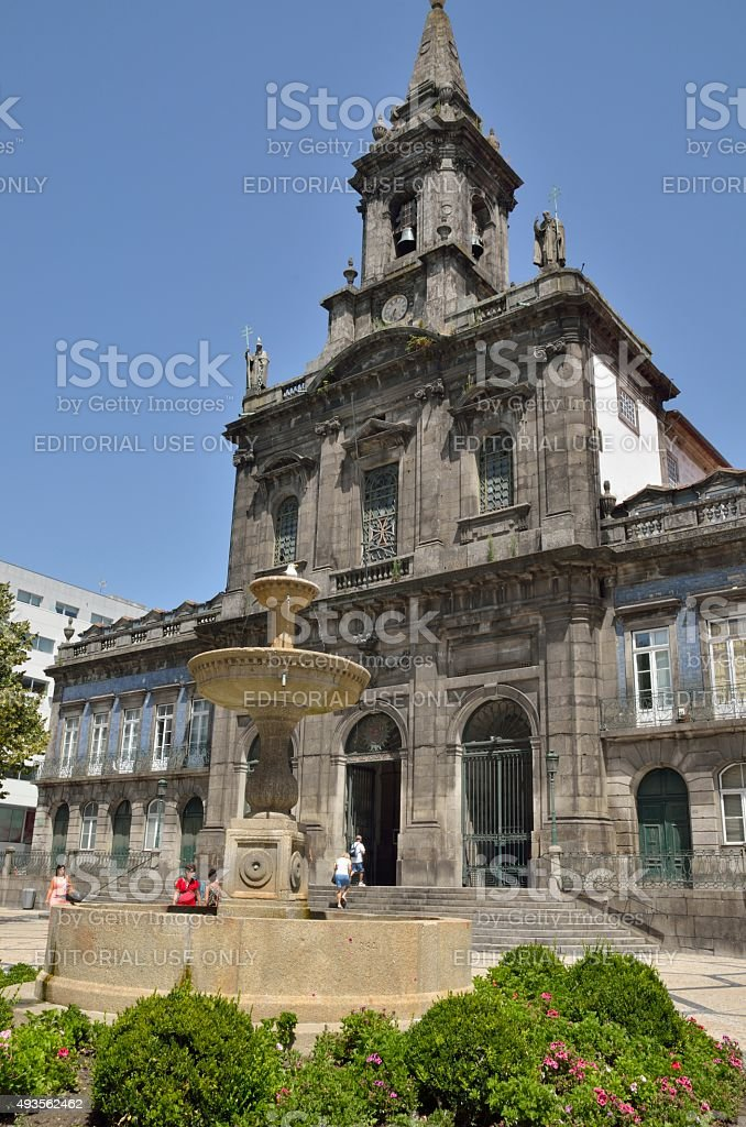 Trindade church in Porto stock photo