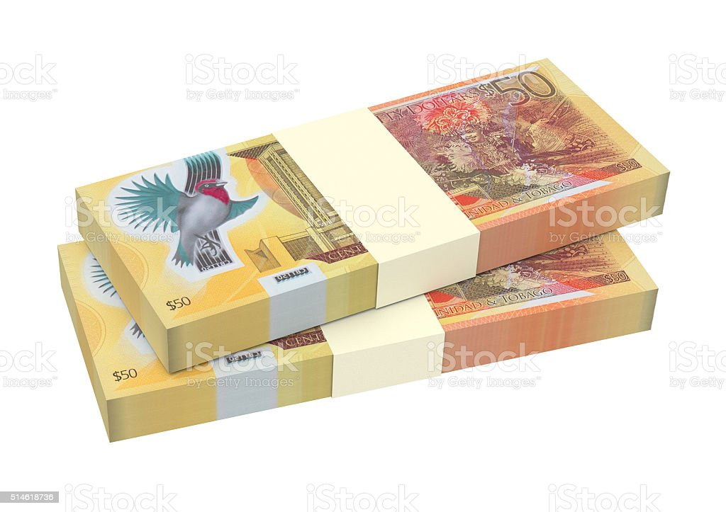 Trinidad and Tobago dollars bills isolated on white background. stock photo