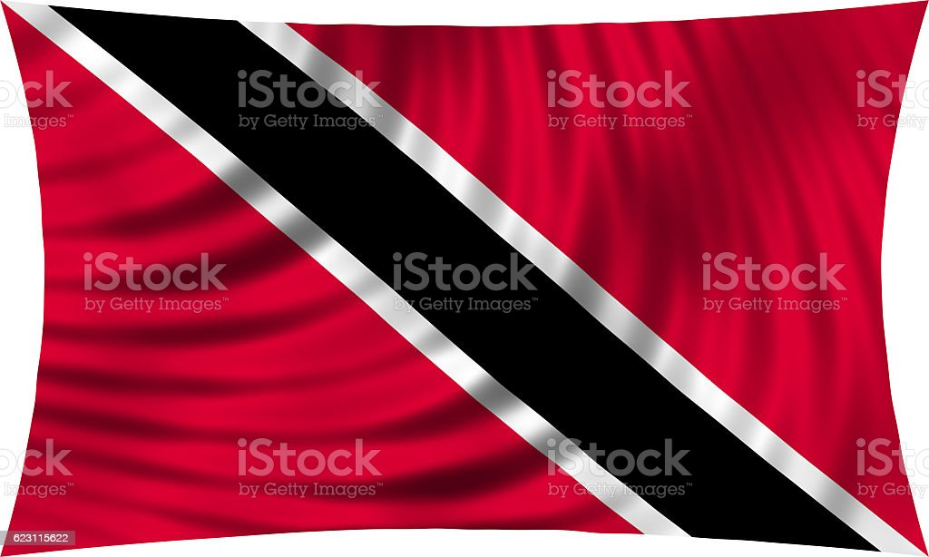 Trinidad and Tobago flag waving isolated on white stock photo