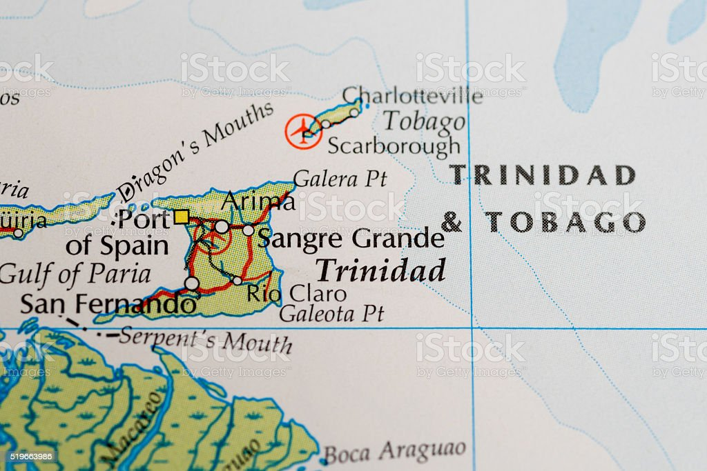 Trinidad and Tobago map stock photo