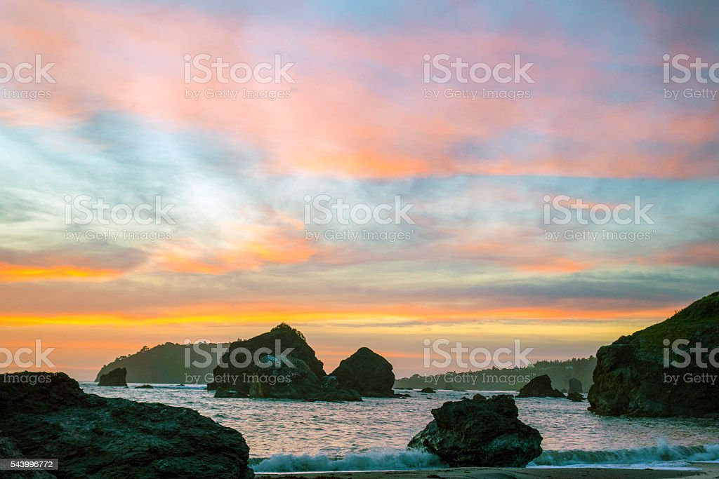 Trinidad sunset stock photo