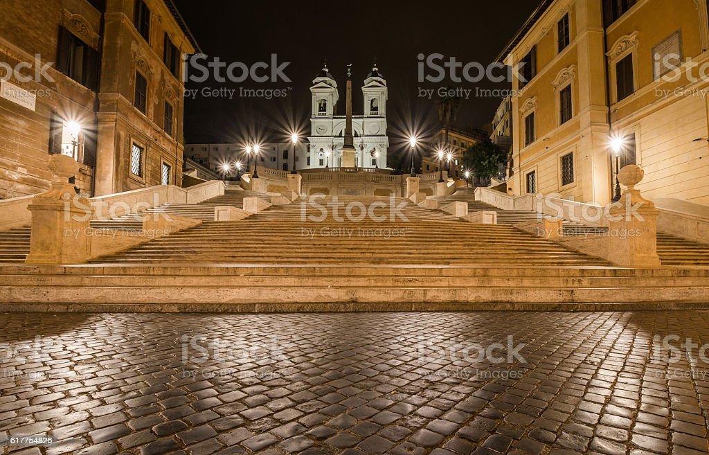 Trinita dei Monti by night, Piazza di Spagna, Rome, Italy stock photo