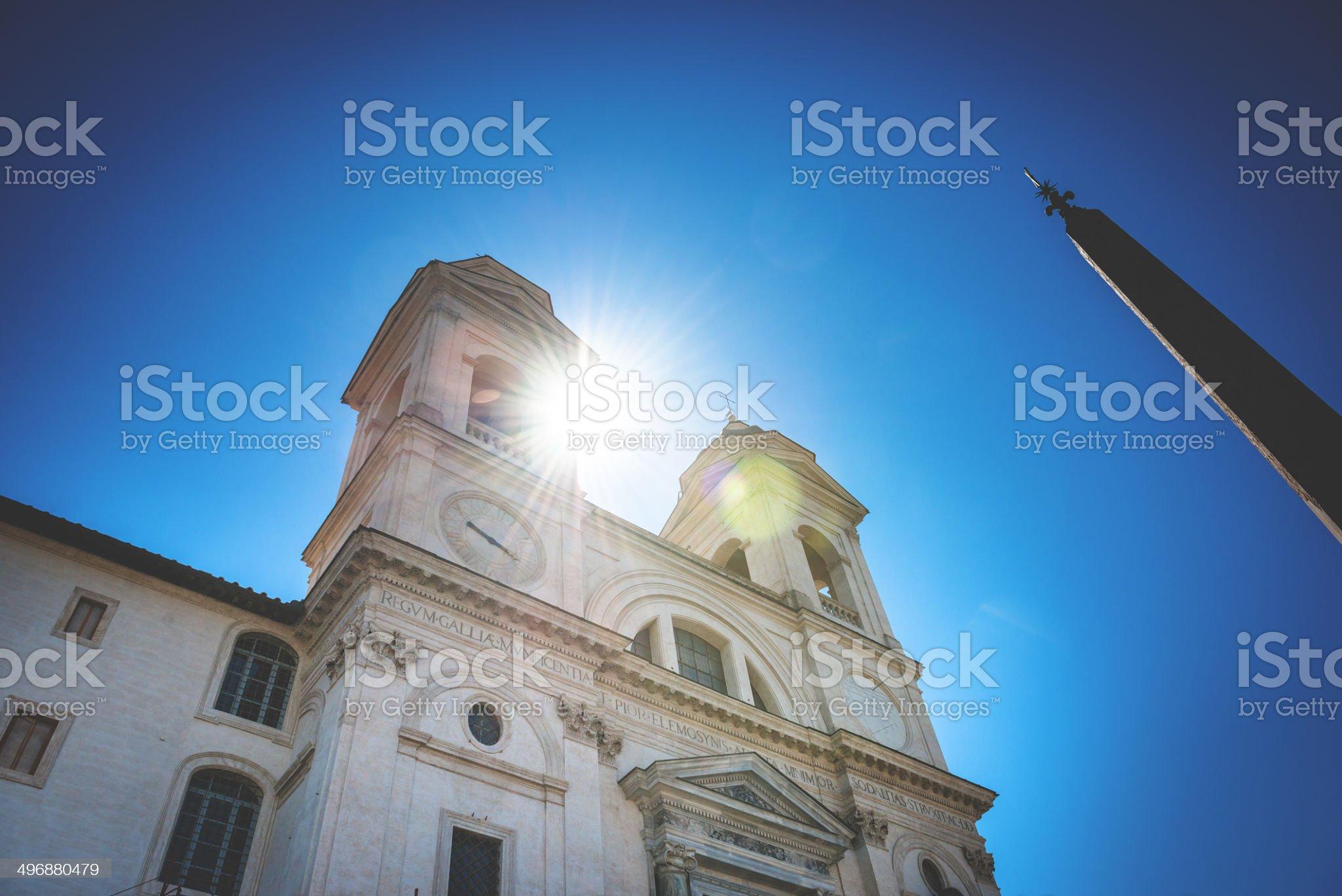 Trinita dei monti church in rome royalty-free stock photo