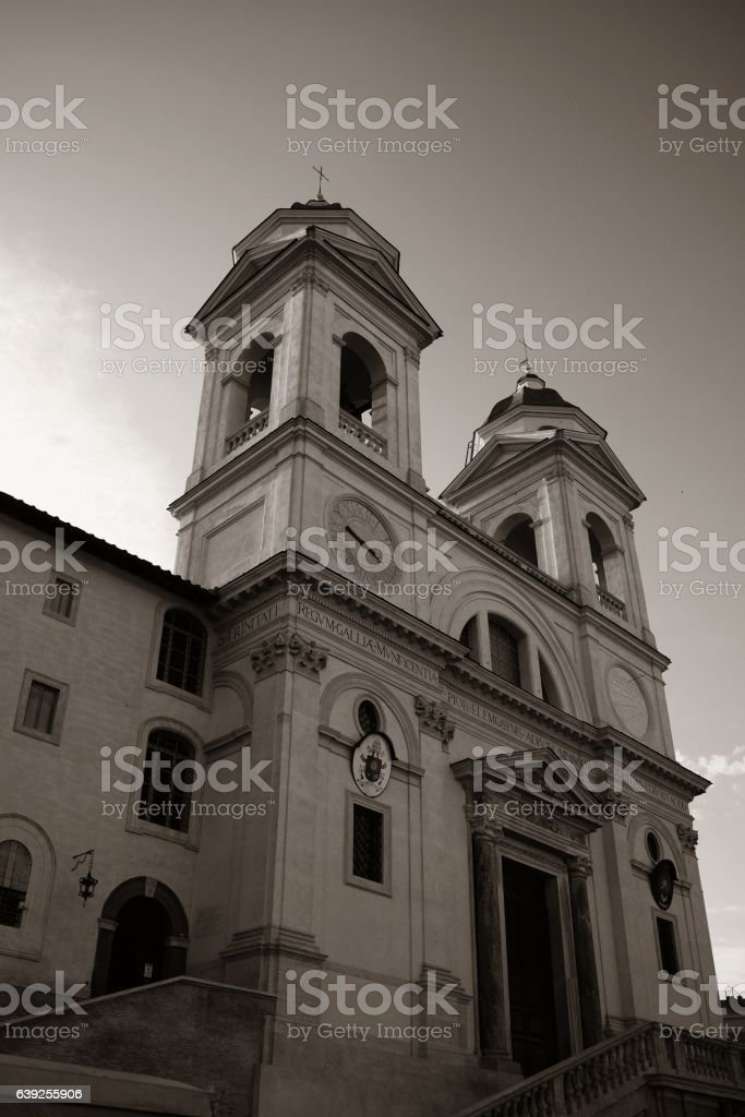 Trinita Dei Monti church stock photo