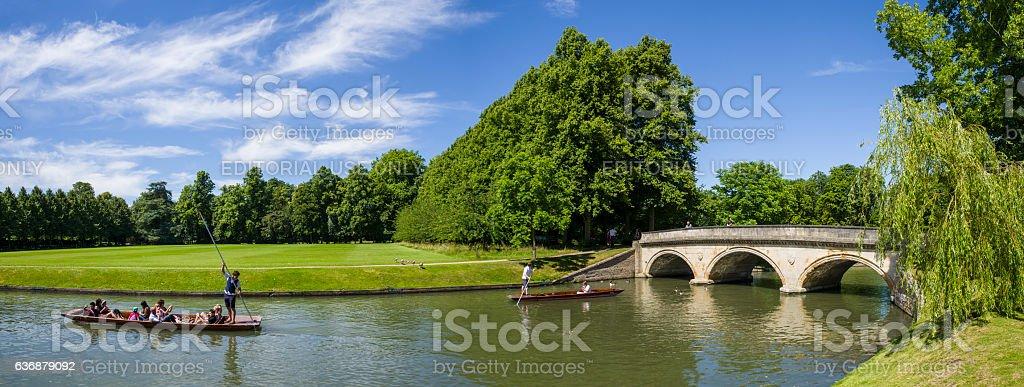 Trinity Bridge and the Backs in Cambridge stock photo