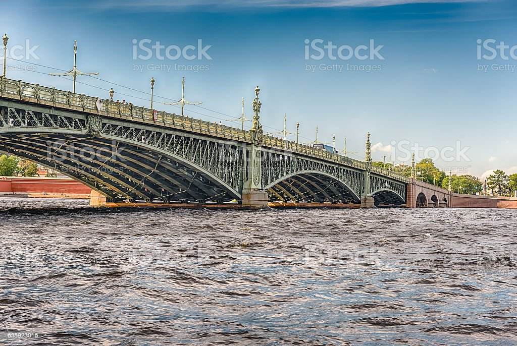 Trinity Bridge on the Neva River, St. Petersburg, Russia stock photo