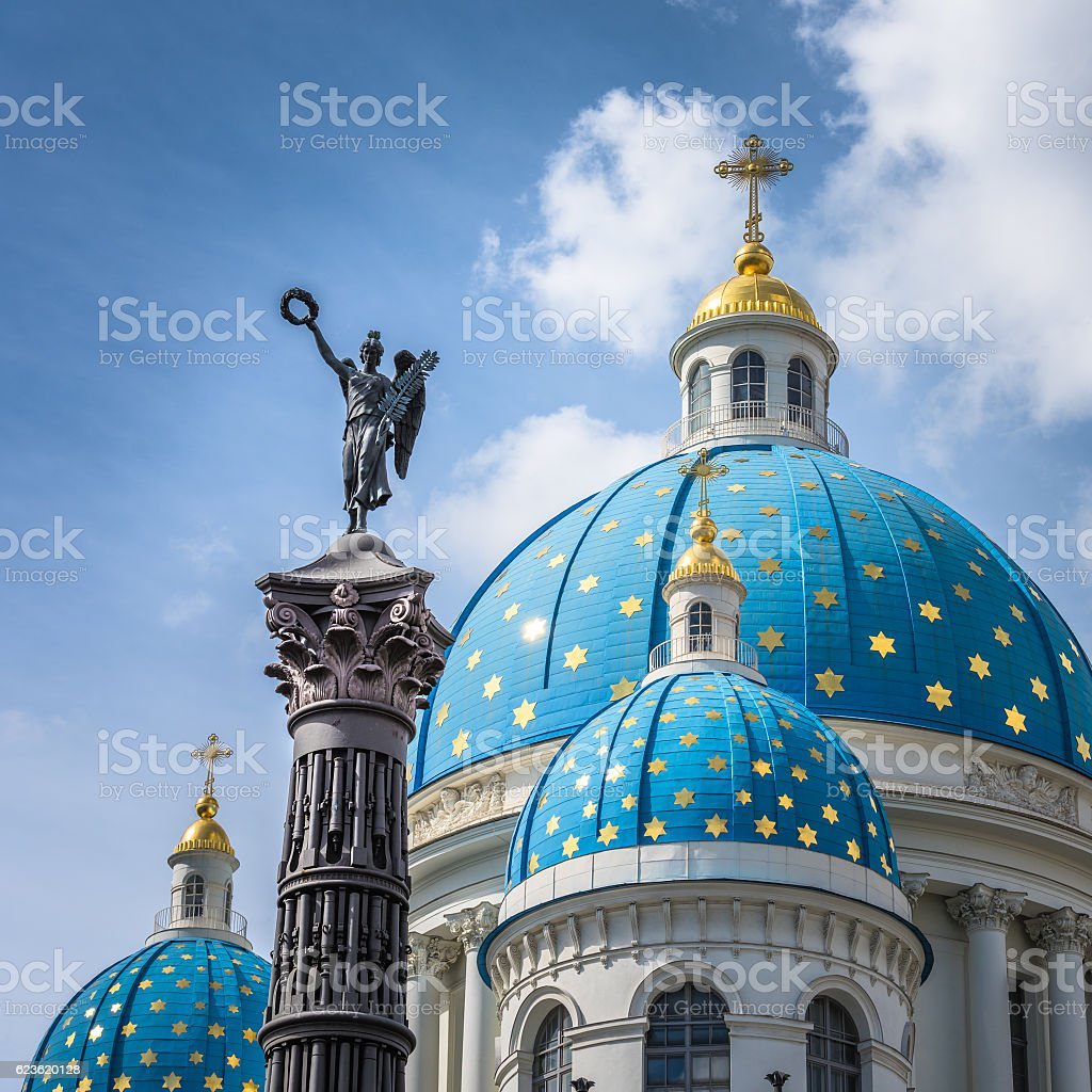 Trinity Cathedral and Column of Glory, Saint Petersburg, Russia stock photo