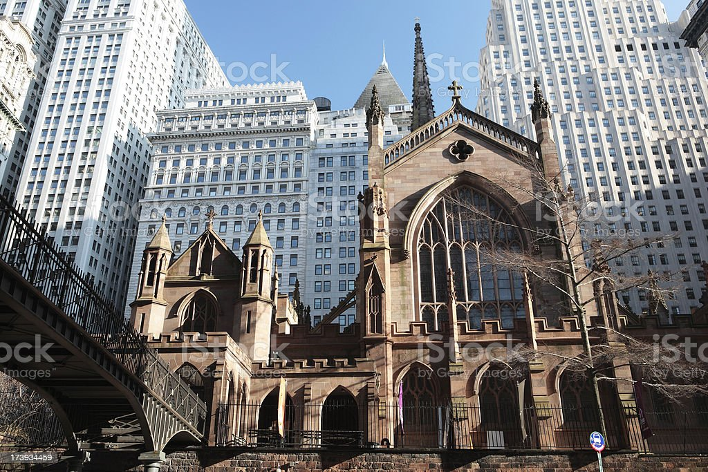 Trinity  church agaist modern buildings stock photo