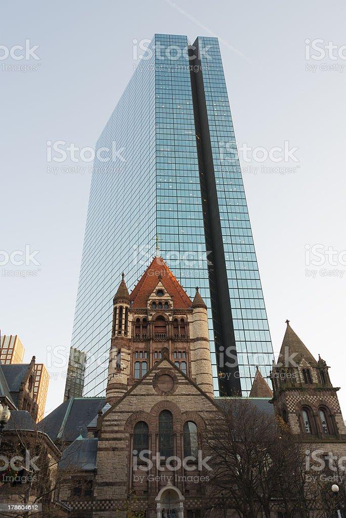 Trinity church and Hancock tower, Boston royalty-free stock photo