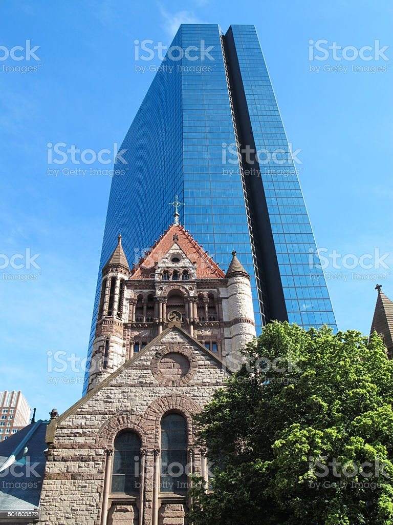 Trinity Church and John Hancock Tower in Boston, MA stock photo