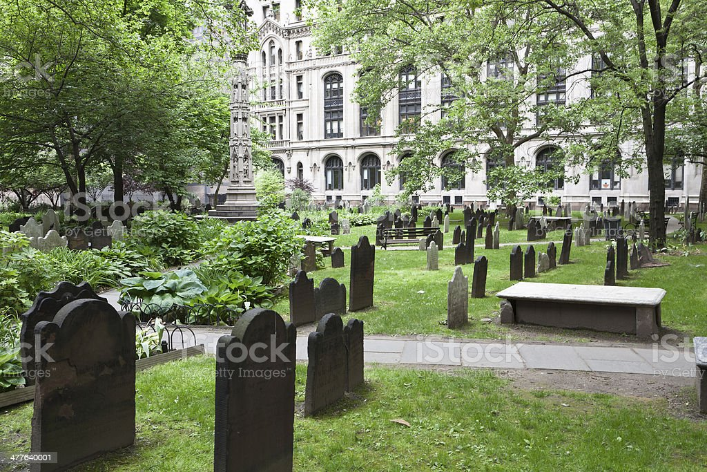 Trinity Church cemetery in New York city stock photo