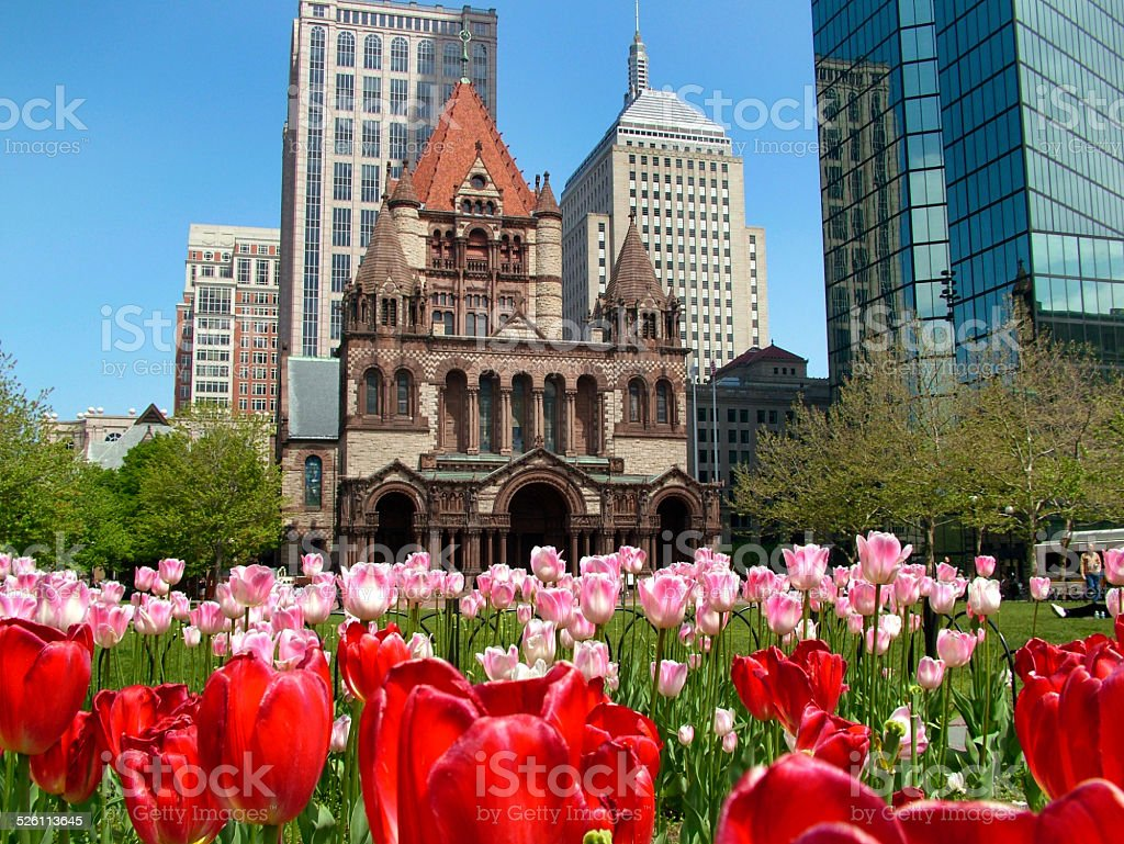 Trinity Church, Copley Square, Boston USA stock photo