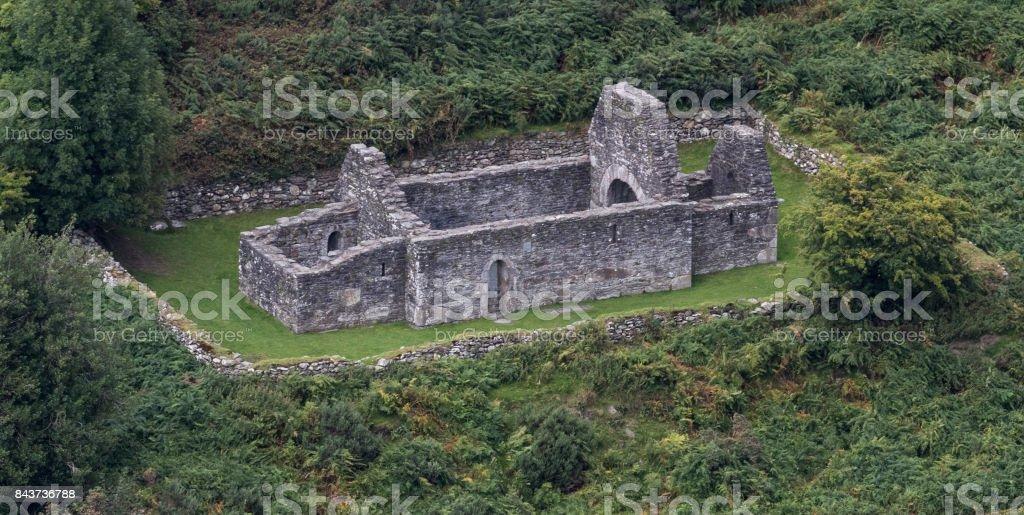 Trinity Church, Glendalough stock photo