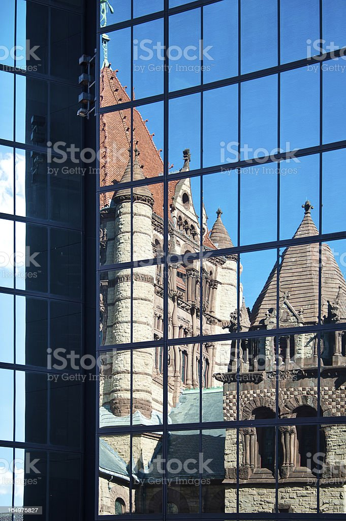 Trinity Church in Boston, Reflection stock photo