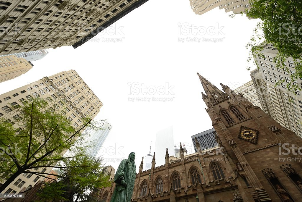 Trinity Church in New York with John Watts statue stock photo