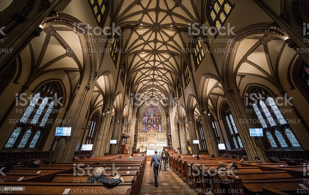 Trinity Church, Lower Manhatten, New York City, United States stock photo