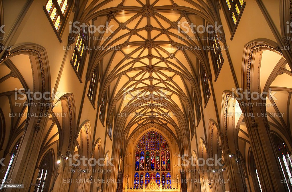 Trinity Church New York City Inside Stained Glass stock photo